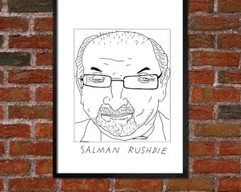 Badly Drawn Salman Rushdie - Literary Poster - *** BUY 4, GET A 5th FREE***