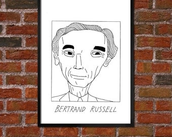 Badly Drawn Bertrand Russell - Literary Poster - *** BUY 4, GET A 5th FREE***