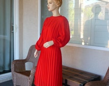 Beautiful Vintage Crimson Red Dress ~ Pleated and Belted, Long Puffy Sleeves, Monica Richards California, Size 12,  Great Condition