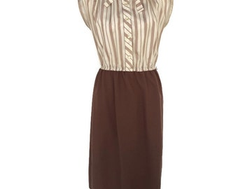 Secretary Dress, Brown Dress, Striped Dress, Ruffled Collar Dress, Short Vintage Dress, Womens Dress, Size Medium or Large, Fitted Dress