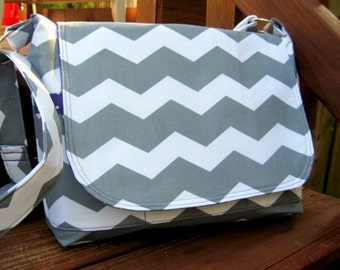 CROSS BODY MESSENGER Bag, Cross Body Purse, Gray and White Chevron Purse / Bag, Made To Order