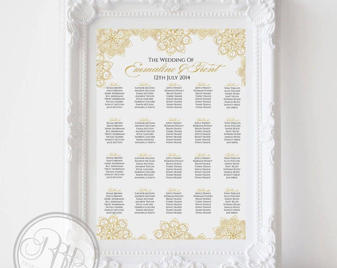 "Gold Mandala Henna Wedding Seating Chart - Gold Henna Mandala Digital Files DIY Printable - ""Shelley Seating Chart white background"""