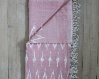 IKAT Blanket, Handwoven ikat throw, Bed Spread ,Ikat Throw , Ikat Table Cloth ,One of a kind scarf, Cozy Cranberry Throw, Royal Ruby