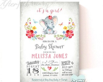 Girl Elephant Baby Shower Invitation Girl Invite // Little Peanut Baby Shower Invite // Printable OR Printed No.634GIRL