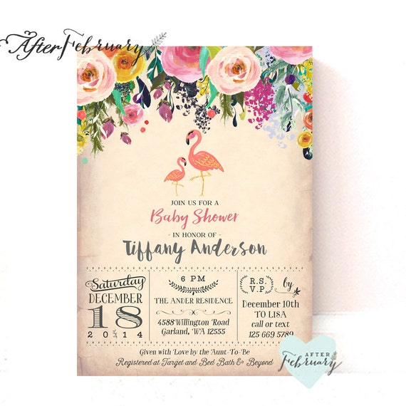 flamingo baby shower invitations flamingo party flamingo