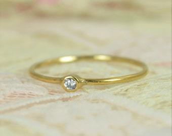 Tiny Diamond Ring Set, Solid 14k Gold Wedding Set, Diamond Stacking Ring, Solid Gold Diamond Ring, April Birthstone, Bridal Set, Diamond