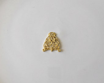 Vintage Gold Plated Lacey Brass Filigree Earring Vintage Jewelry Making Charm Gold Filigree Drop Pendants 20x22mm (1 pc) 53V10