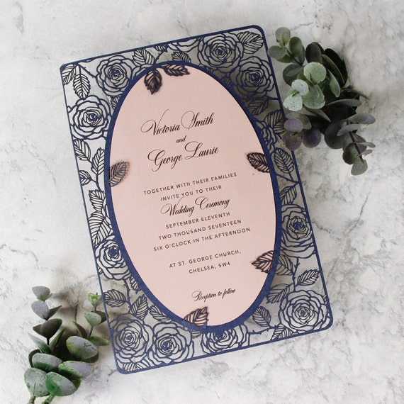 Laser Cut Wedding Invitation, Navy Couture Pink Roses in Double Sided Personalized Frame with Intricate Floral Motif, Die Cut, Mirror