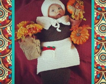 Baby Girl's Thanksgiving Pilgrim Handmade Crocheted Cocoon Set/Outfit/Photo Prop