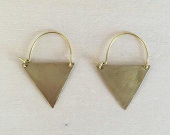 Brass Triangle Earrings / Geometric Brass Earrings