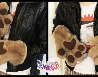 Caramel Fursuit Handpaws With Brown Pawpads