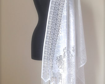 Ivory Lace Shawl, Soft Tulle Light Cream Scarf, Lace Wedding Shawl, Lace  Bridal Shawl, Bridesmaids Gift, Evening Shoulder Wrap, Women Gift
