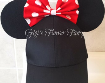 "Minnie Mouse Inspired Ears Hat With Fabric Polka Dot Bow | ""Ear Perfection - Stay Up Ears"" 
