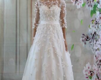 Fantasy 3D florist chiffon material lace beading, half sleeves,  V back wedding dress, Aline ballgown