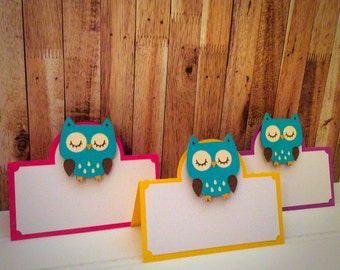 12 Owl tent cards /  Owl place cards /  owl buffet cards / food lables  / owl food tents /  name cards