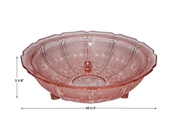 Jeannette Cherry Blossom Pink 3 Footed Fruit Bowl / Console Bowl