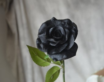Black Real Touch PU Roses For Silk Bridal Bouquets Wedding Centerpieces