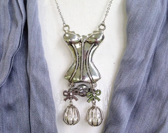 Antiqued Corset & Pearl Necklace