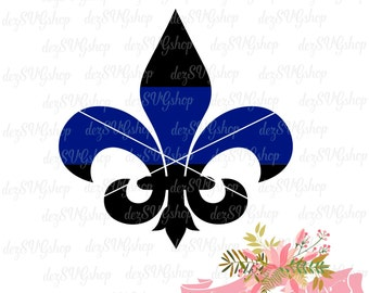 Fleur-de-lis Thin Blue Line SVG | Thin blue line | Law Enforcement Support | Cut File | SVG DXF | svg files for Cricut
