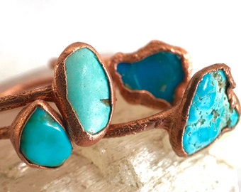 Turquoise and Copper Ring // December Birthstone // Electroformed Ring // Raw Stone Ring /// Turquoise Stone Ring /// Boho Jewelry