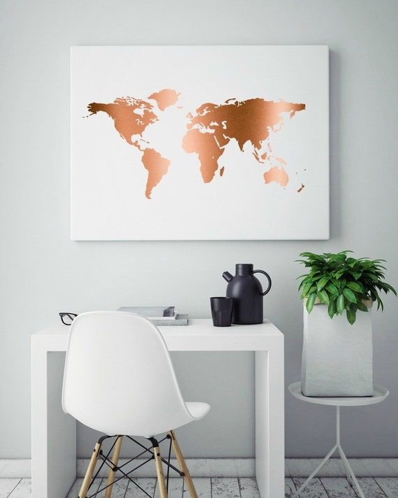Real copper foil copper map print genuine by shabbyshackstudio for Zimmer deko weltkarte