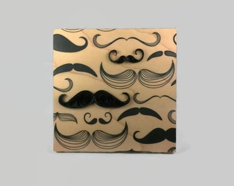 Gift for Him Mustache Print - mustache wood print, wood anniversary, hipster print on wood, mustache wall art, mustache decor, quilling art
