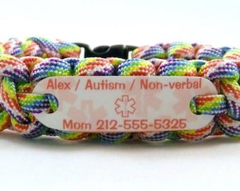 Autism Non Verbal Child ID Bracelet , Waterproof Medical ID Alert Bracelet for children - Autism Awareness ~