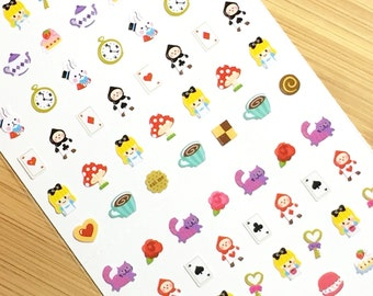 Alice in Wonderland Mini Deco Stickers (1 sheet) Korean Stationery Kawaii Nail Stickers One Point Seal S0507