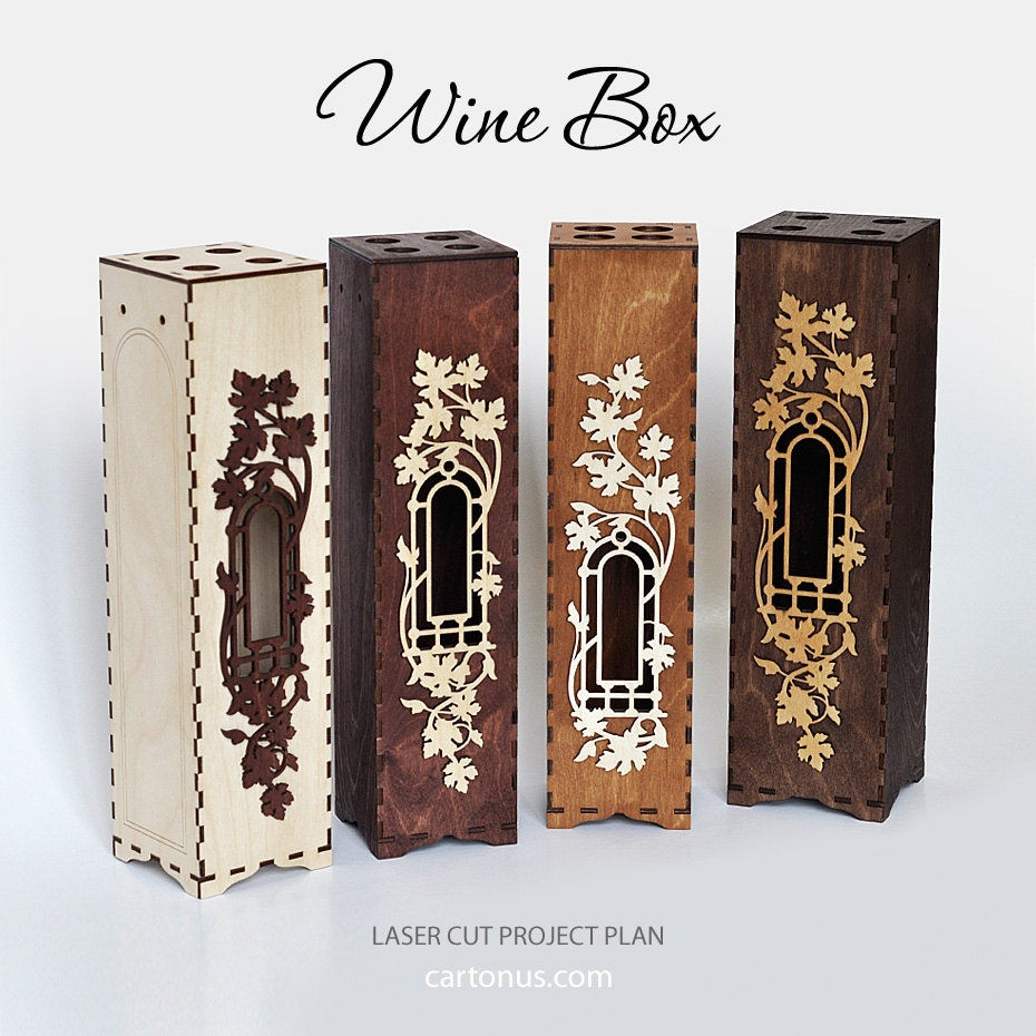 Wine Box With Window And Decorative Frame Laser Cut