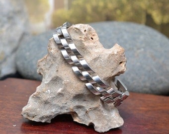 Heavy Sterling Silver Signed TAXCO Mexico Modern Link Bracelet