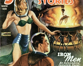 Iron Men US SF magazine Pulp magazine 'brass bra' cover for Startling Stories by Earle Bergey.