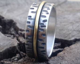 Rustic wedding band Silver wedding band  men's engagement band  handmade silver & Brass band, unique silver ring Studioadama