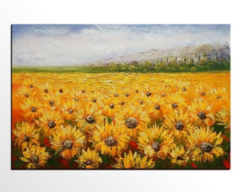 Landscape Painting, Sunflower Field Painting, Large Oil Painting, Large Art, Canvas Art, Abstract Art, Large Painting, Wall Art, Abstract