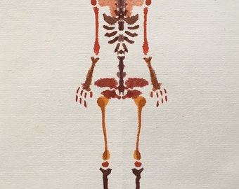 Bunny Rorschach Skeleton Watercolour Painting / Gift Card