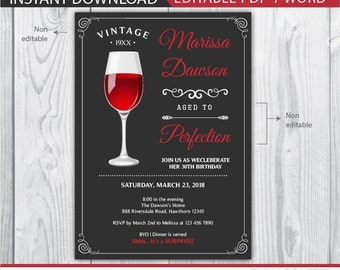 wine birthday invitation / aged to perfection invitation / 30th birthday invitation / 40th birthday invitation / adult invitations / 50th