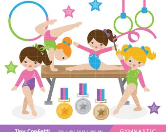 gymnastic clipart, girl gymnasts clipart, girl gymnastic clip art, cute gymnastic clipart, medal, balance beam, ring, commercial
