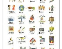 ABC Print, Watercolor Alphabet Poster, Wall Art, Adventure Kid's Room, Nursery Art, Boy's Room, Girl's Room, by Little Truths Studio