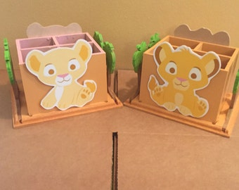 baby Lion King Napkin holder Utensil Caddy, center piece. baby Simba Centerpiece