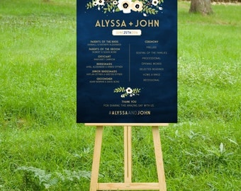The ALYSSA Program Sign. PRINT or PDF, Shipping Included. Wedding Sign Gold Navy Chalkboard. Vintage Rustic Anemone flower White beige