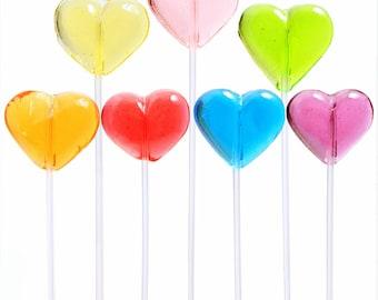 heart twinkle pops long stem lollipops 120 pieces 6 colors handcrafted party - Valentine Lollipops