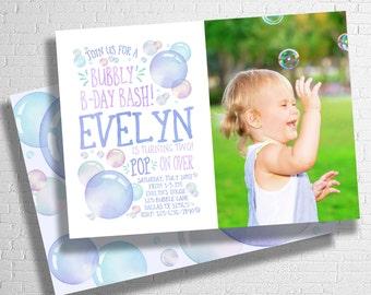 Bubble Birthday Invitation | Bubbles Birthday Invite | Bubble Party Invitation | Blowing Bubbles Birthday invite | DIGITAL FILE ONLY
