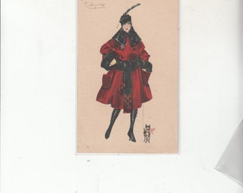 Woman In Art Deco Couture Full Belted Coat Antique Postcard Must See