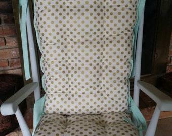 Custom Metallic Gold Dot Rocking Chair Cushions, Rocking Chair Pads