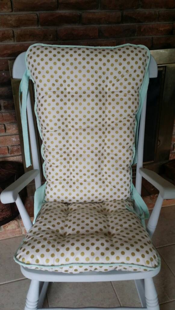 Custom Metallic Gold Dot Rocking Chair Cushions Rocking Chair