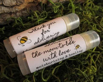Mom To Bee Baby Shower Favor Lip Balm Organic Baby Shower Lip Balm Favor Bee Shower Favor Lip Balm Bee Theme Baby Shower Lip Balm Favor