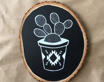 Aztec Cactus Large Wood Slice Chalkboard, Hand Designed, Home Decor