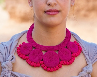 Fuchsia Disc Knot Crochet Necklace, Statement Necklace , Handmade Statement Necklace, Fuchsia Statement