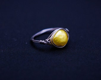Yellow Pearl Wire Wrap Ring