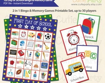Back to School Bingo & Memory Game, First Day of School Printable Bingo Game, 2 in 1 Back to School Bingo and Memory Game