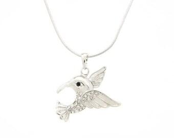 Hummingbird Rhinestone Necklace with Chain